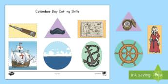 Columbus Day Cutting Skills Activity Sheet - christopher columbus, cutting skills, fine motor, activity sheet, columbus day activity sheet, colum