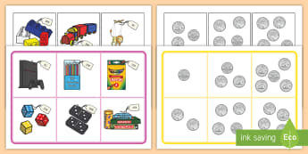 Toy Shop Bingo - Canada KS1 Maths Resource Movement, canada, toys, coins, currency, money, canadian coins, canadian m