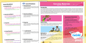PlanIt - Science Year 1 - Everyday Materials Planning Overview CfE - planit, science, year 1, everyday materials, planning overview, cfe