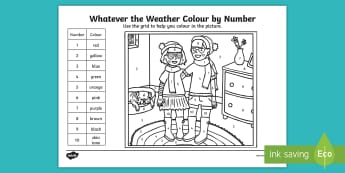 Whatever the Weather Colour by Number Activity Sheet - Exploring the world, sun, rain, wind, snow, seasons, clothes, aistear, worksheet, literacy, oral lan