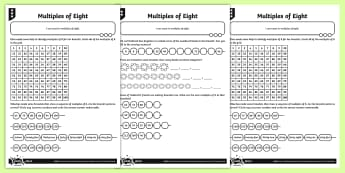 Multiples of Eight Reasoning Activity Sheets - Number and Place Value, multiples, times tables, steps of, counting on, worksheets, problem solving,