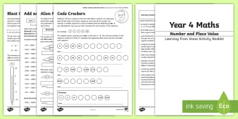 Year 4 Maths: Number and Place Value Working From Home Activity Booklet - KS2 Maths Working from home activity booklets, Count in multiples of 6, 7, 9, 25 and 1000, Find 1000