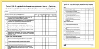 End of KS1 Expectations Interim Assessment Tracker - End of KS1, Expectations, Interim Assessment, Tracking, Sheet, track, reading,reding, assesment, sat