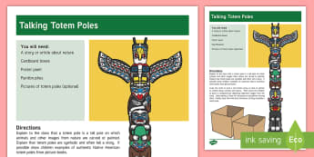 Talking Totem Poles Activity - totem, totem Poles, Literacy, culture, Understanding, tradition, Special Education,Australia