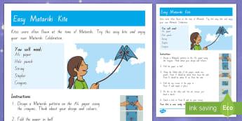 Matariki Kite Easy Craft Instructions - New Zealand Matariki, Matariki, New Year, Maori New Year, Maori, Celebration, Festival