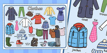 Set de mots : Les vêtements - Anglais LV - vêtements, clothing, clothes, vocabulaire, cycle 2, cycle 3, ks1, ks2, affiches, posters