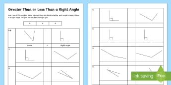 Greater Than or Less Than a Right Angle Activity Sheet - Learning from Home Maths Workbooks, obtuse, acute, right angle, greater than, less than, equals