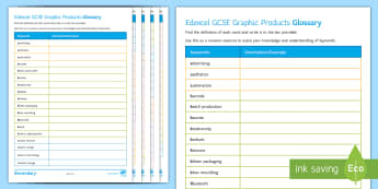 Edexcel GCSE (Legacy Specification) Graphics Glossary Activity - key terms, definitions, revision, Graphic Products, Technology, Exam