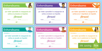 End-of-Year Conjugation Award Certificates - Spanish - Diploma, Achievements, Awards, End, Year, Skills, Gift, Spanish, KS3, Secondary