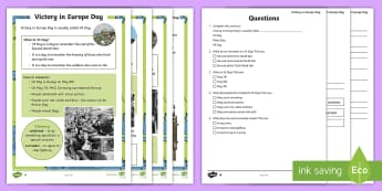 KS1 VE Day Differentiated Reading Comprehension Activity - KS1 Comprehensions, KS1, Key Stage One, Year One, Year 1, Y1, Year Two, Year 2, Y2, reading comprehe
