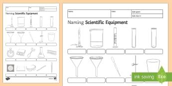 Naming Scientific Equipment Homework Activity Sheet - Homework, science, equipment, apparatus, investigation, planning