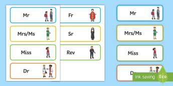 Personal Title Word Cards  - display, cards, titles, abbreviations, mr, mrs, miss,Irish,