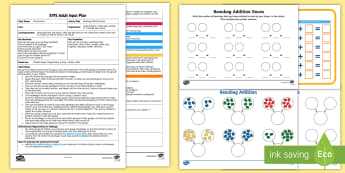 EYFS Beanbag Addition Races to 20 Adult Input Plan and Resource Pack - Using quantities and objects, add and subtract two single-digit numbers, count on or back to find th
