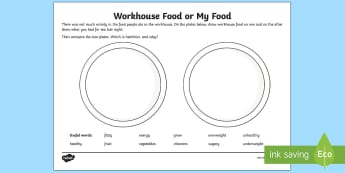 KS1 Workhouse Food or My Food? Activity Sheet - KS1 Workhouses, diet, balanced diet, healthy eating, science, food, illness, health and diet, year 1