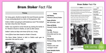 Bram Stoker 3rd and 4th Class Fact File-Irish