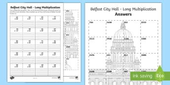 Belfast City Hall Long Multiplication Activity Sheet - Mental Maths Warm Up + Revision - Northern Ireland, long multiplication, Belfast, city hall, formal