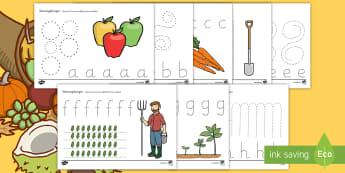 Herbstliche Arbeitsblätter Erstes Schreiben: Buchstaben nachspuren - Schreiben lernen, erstes Schreiben, Buchstaben nachspuren, Feinmotorik, Schreibmotorik, erste Buchst