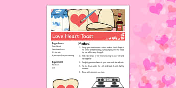 Love Heart Toast Recipe - toast, breakfast, heart, love, valentines