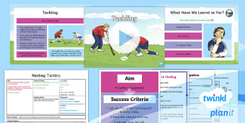 PlanIt - PE Year 4 - Hockey Lesson 4: Tackling Lesson Pack - Hockey, tackle, block, possession, attack, defend, invasion games, KS2, PlanIt, Y4