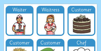 Restaurant Role Play Badges - ESL Restaurant Role Play