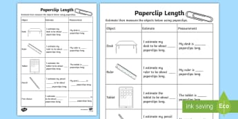 Paperclip Length Activity Sheet - Mathematics, Year,  Measurement and Geometry, Using units of measurement, ACMMG019, length, papercli