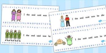 Cinderella Alphabet Strips - cinderella, alphabet strips, letters