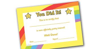 Potty Training Certificate - certificates, award, well done, reward, medal, rewards, school, general, certificate, achievement