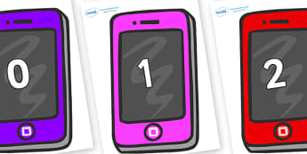 Numbers 0-50 on Mobile Telephones - 0-50, foundation stage numeracy, Number recognition, Number flashcards, counting, number frieze, Display numbers, number posters