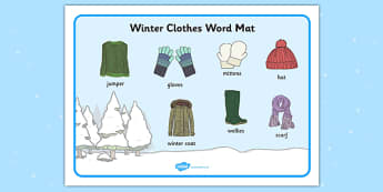 Winter Clothes Word Mat - winter clothes, word mat, winter, clothes