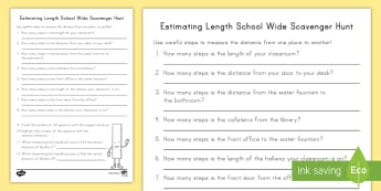 Estimating Length School Scavenger Hunt Activity - estimating, lenth, inches, centimeters, steps, measurement
