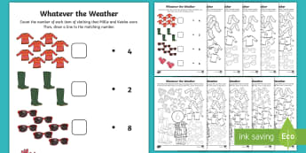 Whatever the Weather Maths Activity Pack - aistear, exploring my world, maths, numeracy, numbers, counting, addition, algebra, patterns,Irish