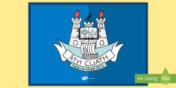 Dublin County Crest Flag Display Poster - cluiche ceannais na heireann, GAA, Football, All Ireland, Final, Sport, Ireland,