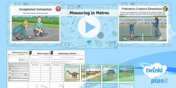 PlanIt Y3 Measurement Lesson Pack Length (2) - Measurement, measuring, length, height, metre, distance, estimate,metre ruler, metre rule, tape meas