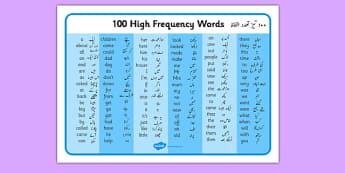 100 High Frequency Words Word Mat English/Urdu - 100 high frequency words, high frequency words, words, high frequency, language, languages, urdu, translation