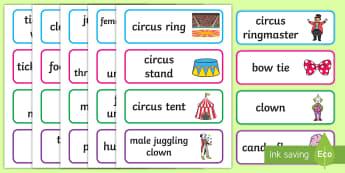 Circus Classroom Labels - classroom, labels, circus, clown, juggler, acrobats, big top, magician, monkey, ring master, trapeze, horse, elephant, lion tamer, stilts, sea lion