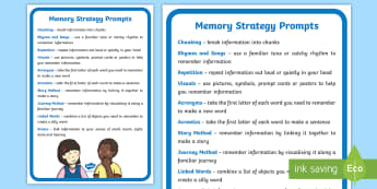 Memory Strategy Prompts A4 Display Poster - chunking, repetition, SEN, techniques
