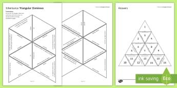Inheritance Tarsia Triangular Dominoes - Tarsia, gcse, biology, inheritance, variation, gene, genetic, inherit, mutation, natural selection, plenary activity