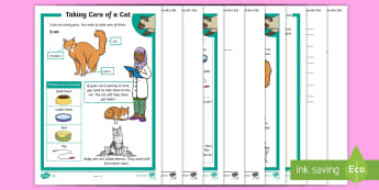 KS1 How To Look After A Cat Differentiated Reading Comprehension Activity - Pets, pet, EYFS, KS1, take, care, look, after, family, member, members, vet, vet surgery, surgery, i