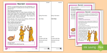 Navratri Differentiated Reading Comprehension Activity - Hinduism, Hindu festivals, festivals and celebrations, hindu gods, religion.