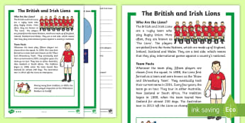 KS1 Lions Rugby Tour Differentiated Reading Comprehension Activity - Rugby Union, British, Irish, Home Nations, Sport, Literacy, non-fiction, fact file
