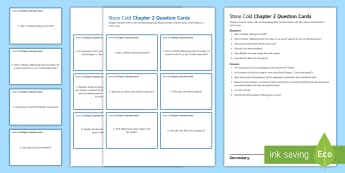 Chapter 2 Question Cards to Support Teaching on 'Stone Cold' by Robert Swindells - Swindells, Comprehension, Shelter, Link, Assess