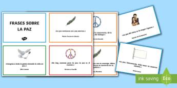Frases del día de la paz   quotes about peace Tarjetas informativas - Día de la Paz, Gandhi, violencia, convivencia, conflictos, mediación, paloma,  frases, citas, paz,