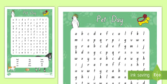 Pet Day Word Search - New Zealand, Pet Day, Farm Safety, Pet Show, Wordfind, Wordsearch, NZ, animals