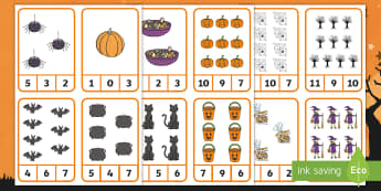 Halloween Number Recognition Clip Cards - Numbers, Math, Pre-K, Spiders, Bats, Pumpkins, Fall, Autumn, Counting Skills