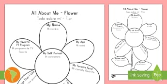 All About Me Flower Writing Template US English/Spanish (Latin) - Ourselves, family, Ks1, Y1, Year 1, EYFS, Reception, Growing, growth, plant, petal, elementary schoo