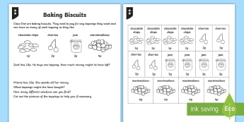 Baking Addition and Subtraction Differentiated Activity Sheets -  Addition and Subtraction, problem-solving, finding all possibilities, spending money, mastery, numb