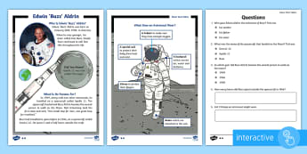 KS1 Edwin 'Buzz' Aldrin Differentiated Comprehension Go Respond Activity Sheets - Reading, Questions, Answer, Moon, Landing, Neil Armstrong, Space, interactive
