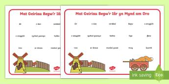 Mat Geiriau i Gefnogi'r Addysgu ar Begw'r Iâr yn Mynd am Dro - begw'r iar yn mynd am dro, stori, fferm, anifeiliaid, daearyddiaeth, arddodiaid, lleoliad,Welsh