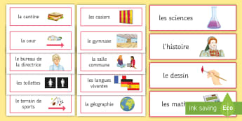 Places in School Display Signs French - European Day of languages, facilities, labels, bilingual, activities,French