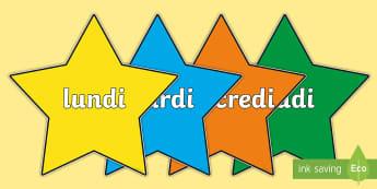 Posters d'affichage : Étoiles multicolores -  Les jours de la semaine - Les jours, days, semaine, week, cycle 1, posters, étoile,French